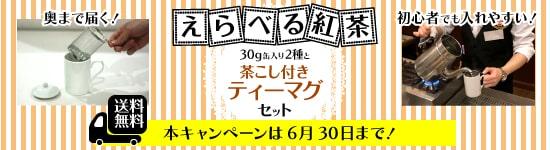 送料無料!ロンドンティールームオリジナル茶こし付きティーマグ(無地)と30g缶×2種の紅茶がえらべるセット!