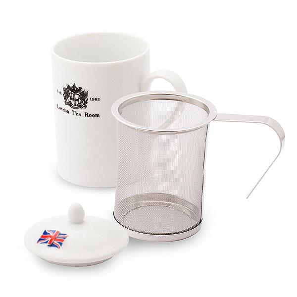 【意匠登録済み♪紅茶専門店ならではの視点から開発した茶漉し付マグカップ】オリジナルティーマグ(茶漉し付陶器製マグカップ)オリジナルロゴ入り
